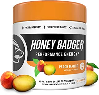 Honey Badger Vegan Keto Pre Workout | Peach Mango | Natural Paleo Sugar Free Plant-Based Energy Supplement Nootropics Amino Acids Nitric Oxide Sucralose Free + Non-Habit Forming | 30 Servings