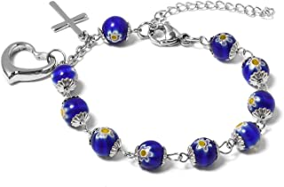 Shop LC Delivering Joy Round Bead Strand Murano Millefiori Glass Station Link Charm Bracelet Prayer Religious Cross Heart Charms Bracelet Bangles 7