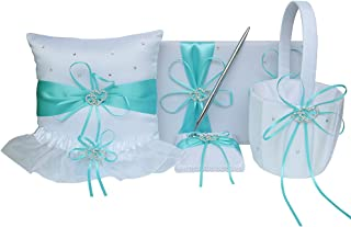 5pcs Wedding Sets Flower Girl Basket + Ring Bearer Pillow + Guest Book with Pen + Pen Set Holder + Bride Garter with 2 Rhinestone Hearts for Rustic Bridal Wedding Shower Ceremony, Aqua Blue