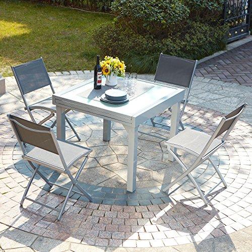 JFB Le Filomena : Salon de Jardin Extensible Table en Aluminium et 4 chaises