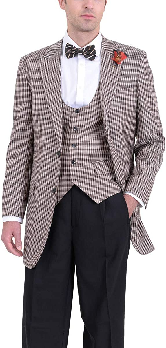 Apollo King Tan & Black Check Three Piece Pleated Wool Suit with Peak Lapels
