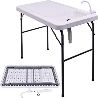 GYMAX Fish Table, Portable Folding Fish Table Fish Fillet Cleaning Cutting Table with Sink Faucet, for Outdoor Camping Picnic Party