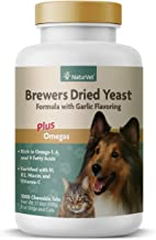 NaturVet – Brewer's Dried Yeast Formula with Garlic Flavoring – Plus Omegas – Rich in Omega-3, 6 & 9 Fatty Acids – Fortified with B1, B2, Niacin & Vitamin C – for Dogs & Cats