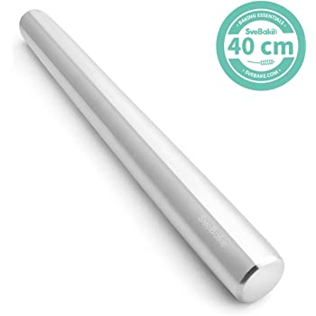 SveBake Stainless Steel Rolling Pin for Baking - Metal Non Stick Dough Roller   Perfect for Pastry, Pizza, Cake, Pasta - 40 cm