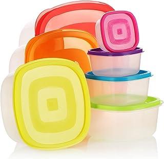 COM-FOUR® Ensemble de bocaux en plastique 7 pièces, contenant de rangement, boîtes de rangement pour aliments en 7 taille...