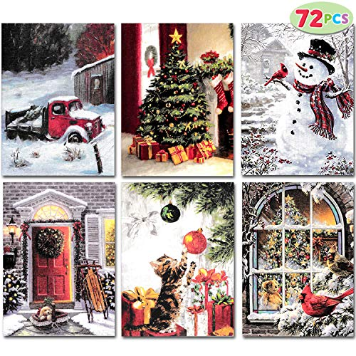 72 PCs Cute Merry Christmas Greeting Cards for Holiday Parties, Gift Giving, Winter Christmas Season, Holiday Gift Giving, Xmas Gifts Cards.
