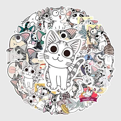 JIAQI Cartoon Käse Katze Aufkleber Nette Kreative Private Haus Katze Gepäck Auto Notebook Aufkleber53Pcs