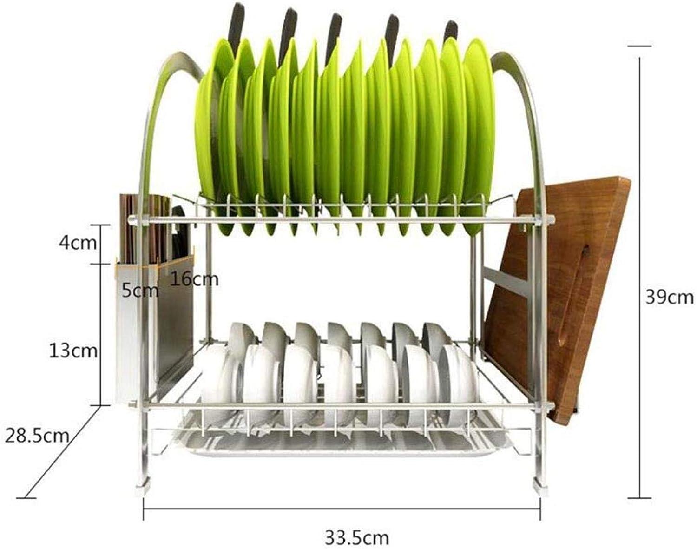 Kitchen 2 Tier Dish Storage Rack, 304 Stainless Steel Kitchen Drain Rack, Chopsticks & Chopping Board Holder, Non-Slip Foot Mat 33.5x28.5x39cm ZXMDMZ