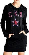 Ananlin Womens SKA Saint Petersburg Sexy V Neck Long Sleeve Cotton Hooded Hoodie/Sweatshirt Casual Dress
