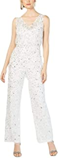 Adrianna Papell Women's Cruchy Beaded Jumpsuit, Ivory, 16