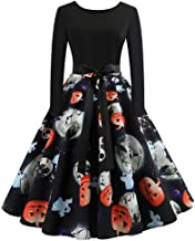 DEATU Halloween Womens Dress Ladies O Neck Long Sleeve Printing Vintage Gown Party Dress