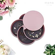 mono living Jewelry Organizer Tray Tower Trinket Tray Necklaces Bracelets Rings Earrings Holder Gift for Her Girl Pink Lover Daughter Women Girlfriend Ladies (Pink)
