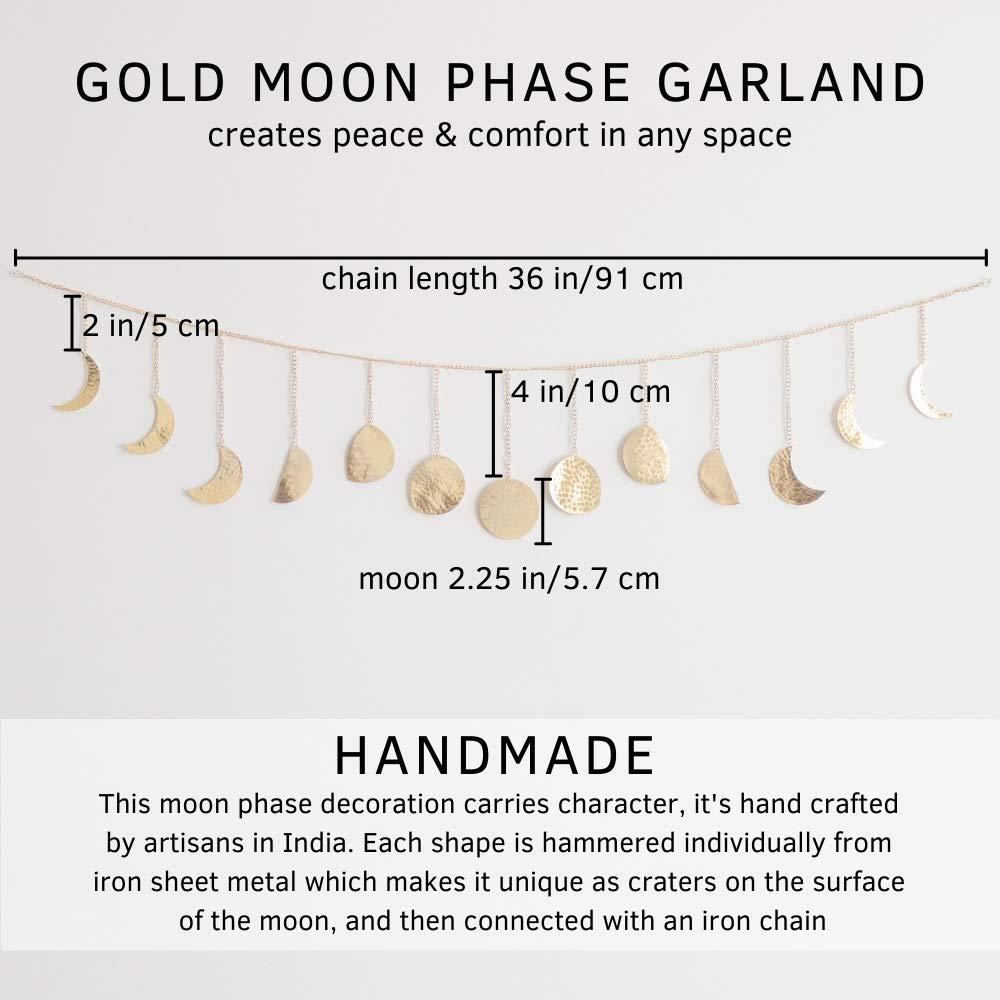 "Moon Phase Wall Hanging Handmade Hammered Gold Metal 13 Moons 36"" Garland, Boho Decor Modern Celestial Phases Decoration Bohemian Lunar Aesthetic Art for Bedroom, Living Room, Dorm, Apartment, Office"