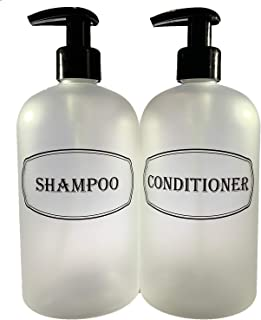 Bottiful Home-16 oz Frosted Clear Shampoo and Conditioner Shower Soap Dispensers-2 Refillable Empty PET Plastic Pump Bottl...