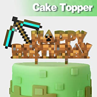 Arrow Happy Birthday Cake Topper Pixel Video Game Theme Party Cake Decor Perfect for Baby Shower Child Birthday Party Supplies Adorable Mirrored Acrylic Decorations