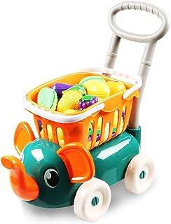 子供のショッピングカートのおもちゃの男の子と女の子のスーパーマーケットのベビーカーは、赤ちゃんの興味を育むためにハウスカットのキッチンの果物と野菜を再生します