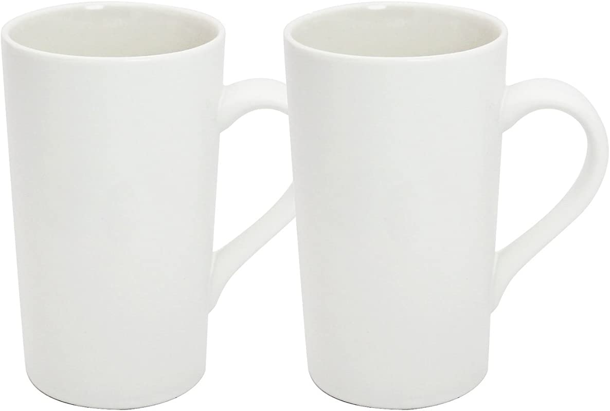 YINUOWEI 16oz Porcelain Coffee Mugs Set Large Ceramic Handled Milk Mug Drinking Cups For Tea Coffee Cocoa Pure White