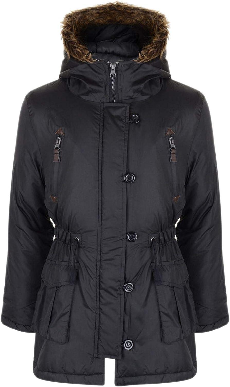 a2z4kids Girls Parka Jacket Kids Padded Faux Fur Trim Hooded Coat Wendy 1 Age 7-13 Years