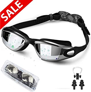 Swim Goggles, Wide View Swimming Goggles No Leaking Anti Fog UV Protection Triathlon Swim Goggles for Adult Men Women Youth, Summer Swim Glasses Set with Nose Clip Ear Plugs and Free Protection Case