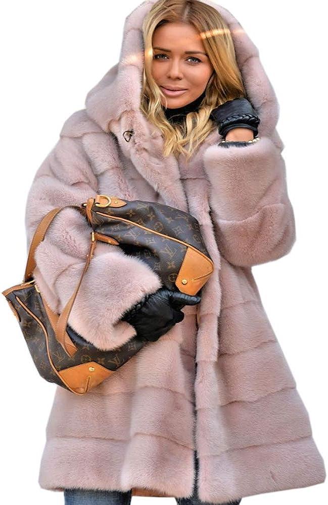 Roiii Womens Winter Luxury Outerwear Long Sleeve Faux Mink Faux Fur Plus Size Hooded Coat