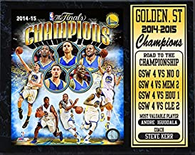 """NBA Golden State Warriors California 2015 Champions Road to the Championship Plaque, Black/Gold, 12 x 15"""""""