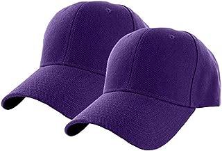 Set of 2 Plain Adjustable Baseball Cap Classic Adjustable Hat Men Women Unisex Ballcap 6 Panels