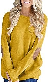 Mujeres Sueltas de Manga Larga de Patchwork sólida Camiseta Inferior Blusa Tops