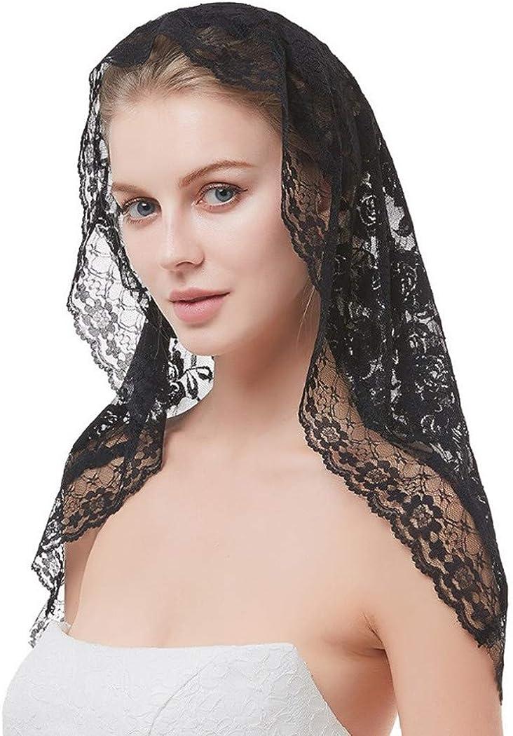 Lianshi Lace Mantilla Veil Rose Soft Lace Veil Head Covering Veils for Church,Black
