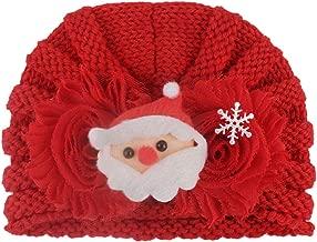 OhradWord Newborn Baby Boy Girl Cute Knitted Bead Hat Christmas Beanie Headwear Cap Crochet Headband Headwear Accessories