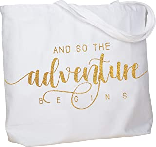 ElegantPark And So the Adventure Begins Wedding Bride Tote Bachelorette Party Gift Personalized Travel Shoulder Bag Canvas White with Gold Glitter