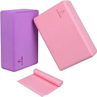 Zacro 2 Pack Bloque de Yoga + 1.5m Banda de Resistencia de Yoga Bloque de Espuma EVA de Alta Densidad para Mejora la Fuerz...