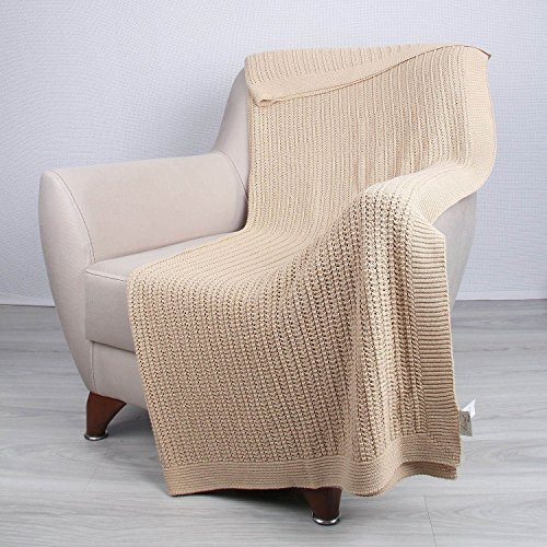 Homemania TP14021 Plaid, 100% Cotone, Oro, A Una Piazza E Mezza, 170x130x0.1 cm