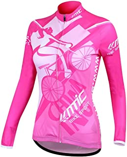 Santic Cycling Jersey Women's Long Sleeve Bicycle Tops Mountain Bike Shirts with Pockets
