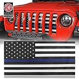 Hooke Road Gladiator JT/Wrangler JL Front Grill Mesh Insert Front Grille Bug Screen Deflector Compatible with Jeep Wrangler JL/Gladiator JT 2018 2019 2020 2021 - Blue & Black,US Flag