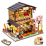 Spilay DIY Dollhouse Miniature with Wooden Furniture,Handmade Japanese Style Home Craft Model Mini Kit with Dust Cover & Music Box,1:24 3D Creative Doll House Toy for Adult Teenager Gift (Gibon Sushi)