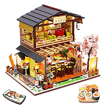 Spilay DIY Dollhouse Miniature with Wooden Furniture,Handmade Japanese Style Home Craft Model Mini Kit with Dust Cover & Music Box,1 24 3D Creative Doll House Toy for Adult Teenager Gift  Gibon Sushi