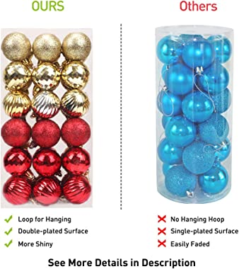 walsport Christmas Balls Ornaments for Xmas Tree, 36ct Plastic Shatterproof Baubles Colored and Glitter Christmas Party Decor