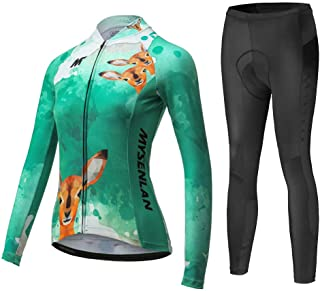Mysenlan Women's Cycling Long Sleeve Breathable Jersey Set 3D Padded Long Pants Bike Shirt Bicycle Tights Clothing Green