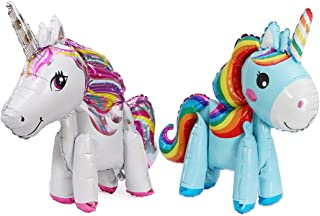 Morndew 2 PCS Rainbow Horse unicorn Foil Balloons for Theme Party Kid Birthday Party Baby Shower Wedding Party Decorations