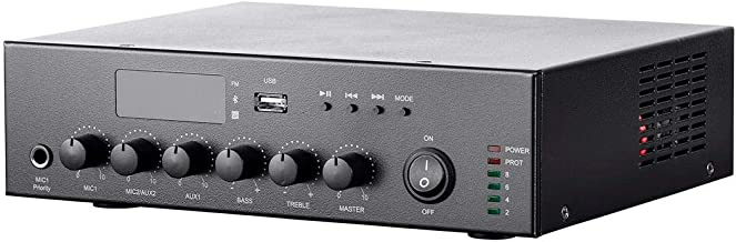 Monoprice Commercial Audio 60W 3CH 100/70V Mixer Amp with Built-in MP3 Player, FM Tuner, and Bluetooth Connection