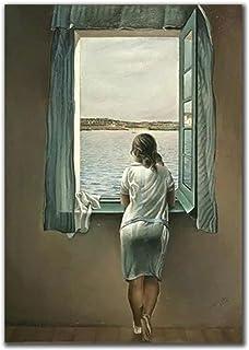 IFUNEW Canvas bilder kvinnan vid fönstret Salvador Dali väggkonst bilder affisch och tryck för vardagsrum heminredning 60 ...