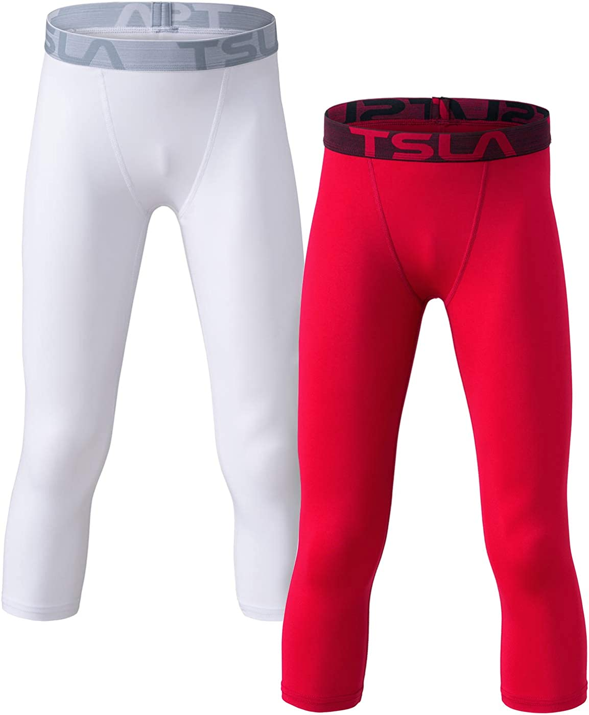 TSLA 1 or 2 Pack Boys Youth UPF 50+ Compression Pants Baselayer, Cool Dry Active Running Tights, Sports 4-Way Stretch Workout Leggings: Clothing