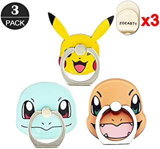 ZOEAST(TM) 3 Pack Phone Ring Grip Pocket Monster Ball Pokeball Universal 360° Adjustable Holder Car Hook Stand Stent Mount Kickstand Compatible All iPhone X Plus Samsung Android iPad(3pcs Monster)