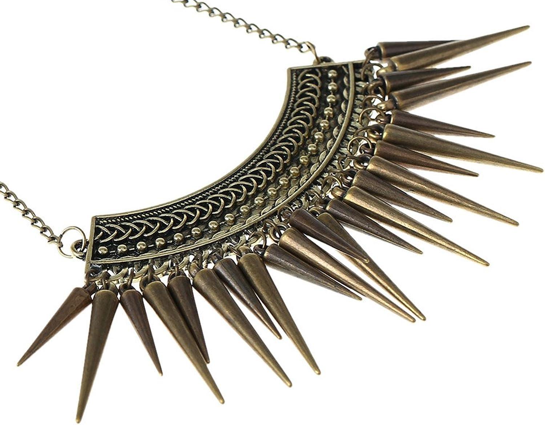 SaySure - Punk Style Rivet Tassel Collar Fashion Long Chain Antique Bronze B0173CRJT2  Geschwindigkeitsrückerstattung