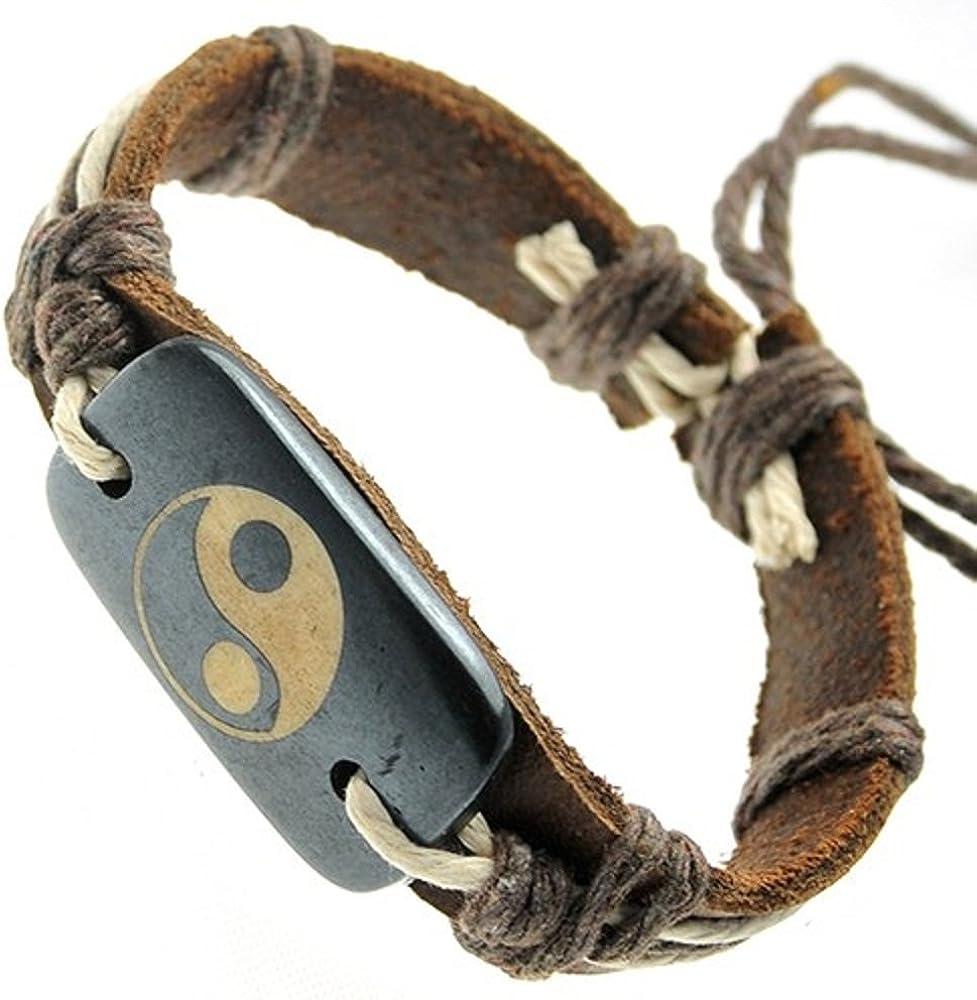 Brown overseas Leather Bracelet Regular discount With Ying Id Yang Rectangular On Bone