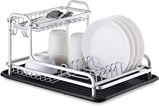 Aluminum Dish Drying Rack,2-tier Design,Removable Drainer tray with Adjustable Swivel Spout,Rust-Proof Sink Dish Drainers for Kitchen(Equipped with two drainboard)