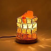 HALOVIE Zoutlamp, natuurlijke kristal, rok, zoutlampen, instelbare kubusvormige nachtlamp op houten sokkel, met dimmer bes...