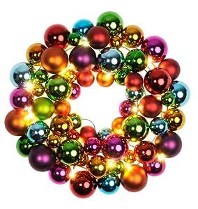 "Best Season LED-Kugelkranz ""Ball Wreath"", beleuchtet, Material: Kunststoff/Metall circa 28 x 24 cm, buntbatteriebetrieben Vierfarb-Karton 700-01"
