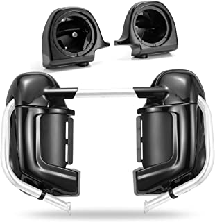 Advanblack Vivid/Glossy Black Lower Vented Fairings 6.5 inch Speaker Pods Fit for 1983-2016 Harley Touring Street Glide Electra Glide Road King