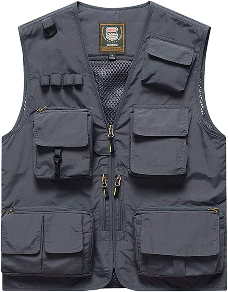 Panegy Men Multi-Pockets Utility Cargo Max 85% OFF Hiking Outdoor Work Vest Indefinitely